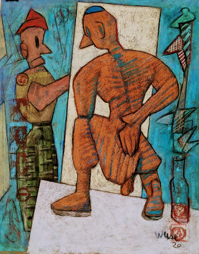 """Model Stand # 5 Pastel 25"""" X 19"""" (c) 2020 Roger Weise"""